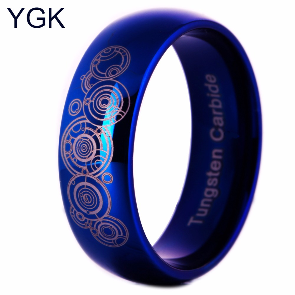 Prix pour YGK Marques 8mm Largeur Médecin Qui Brillant Bleu Dôme Hommes et Femmes de Mode Tungsten Anneau pour le Mariage
