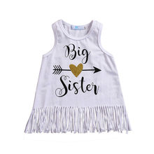 Big Sister Letter Printed Children Girls Summer Casual Dress Sleeveless Fashion Tassel Mini Dress Cotton Princess Clothes(China)