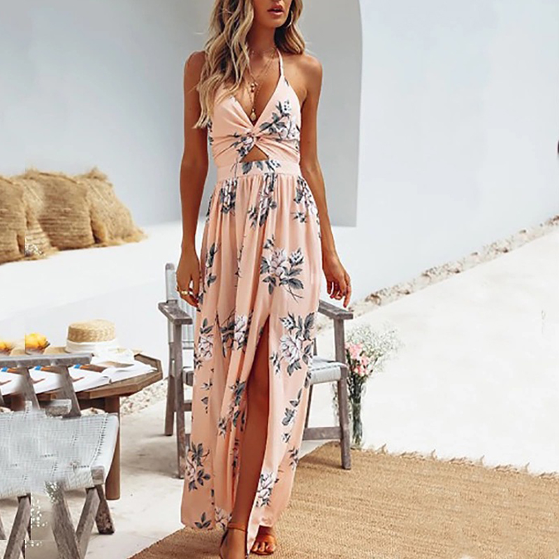 UZZDSS Womens Summer Boho Maxi Long Dress Evening Party Beach Dresses Sundress Floral Halter Dress Summer 2019