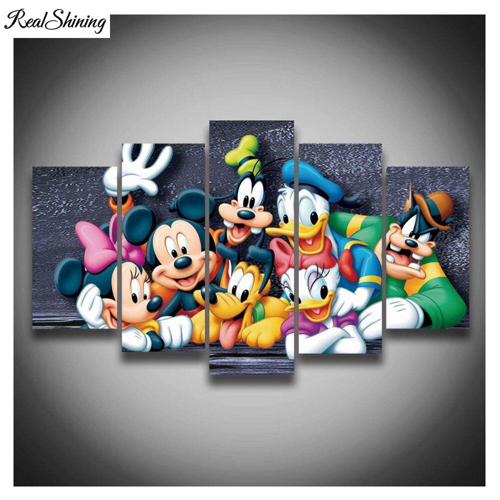 REALSHINING 5Pcs 3D Full Square Diy Diamond Painting Cross Stitch Pattern Diamond Embroidery Cartoon Mouse Duck Room Decor DM344