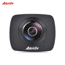 Original AMKOV AMK200S Wireless 360 Degrees Panorama CMOS Dual Lens WiFi Action Sports Camera 1290*960Pix For VR Youtube 1500mAh