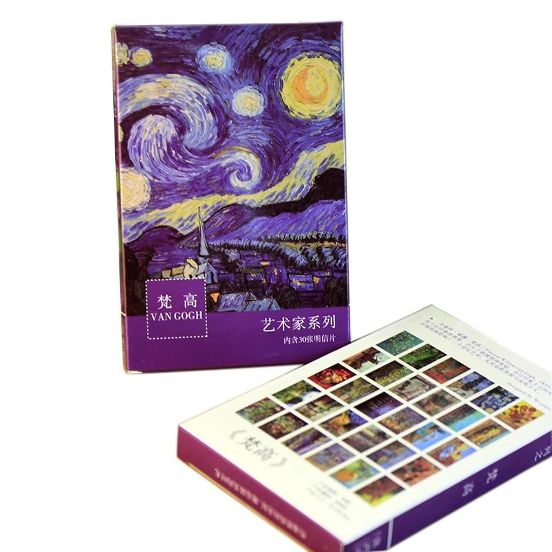 30 Sheets/pack Creative Van Gogh Oil Painting Design Postcard Vintage Van Gogh Paintings Postcards Wish Greeting Gift Card