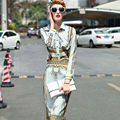 New 2016 spring summer vintage fashion baroque patterns print long sleeve women tops shirts + pencil skirt two piece set suit