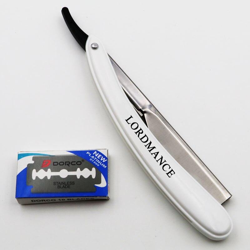 1set Men Straight Barber edge Razors Folding Shaving Knife Hair Removal Tools With 10pcs Blades 5