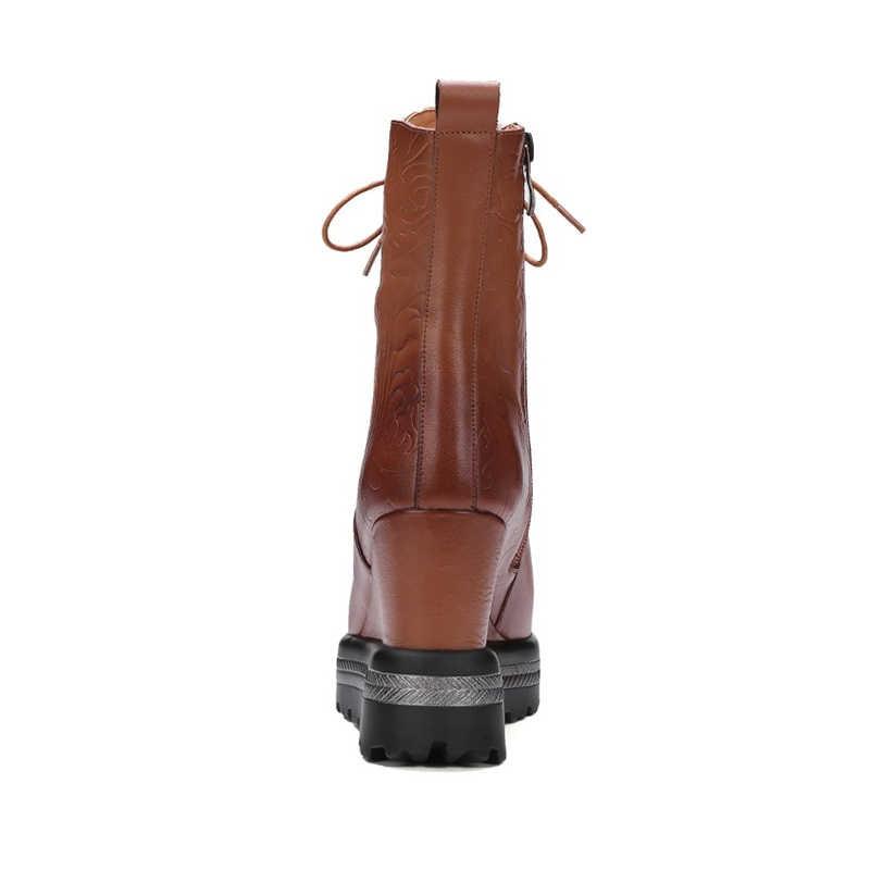 MLJUESE 2019 kadın yarım çizmeler inek deri kış kısa peluş lace up kahverengi renk platformu takozlar topuklu bayan botları boyutu 34-42