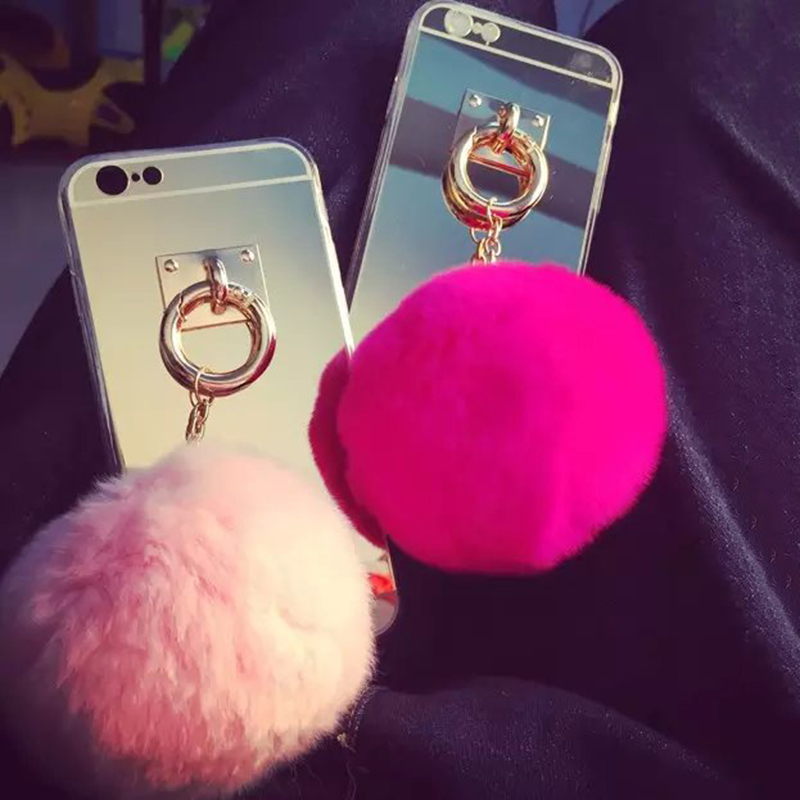 Luxury Mirror Phone Back Cover with Rabbit Fur Ball Pendant Phone Case For Samsung Galaxy J1 J2 J3 J5 J7 A3 A5 A7 2015 2016