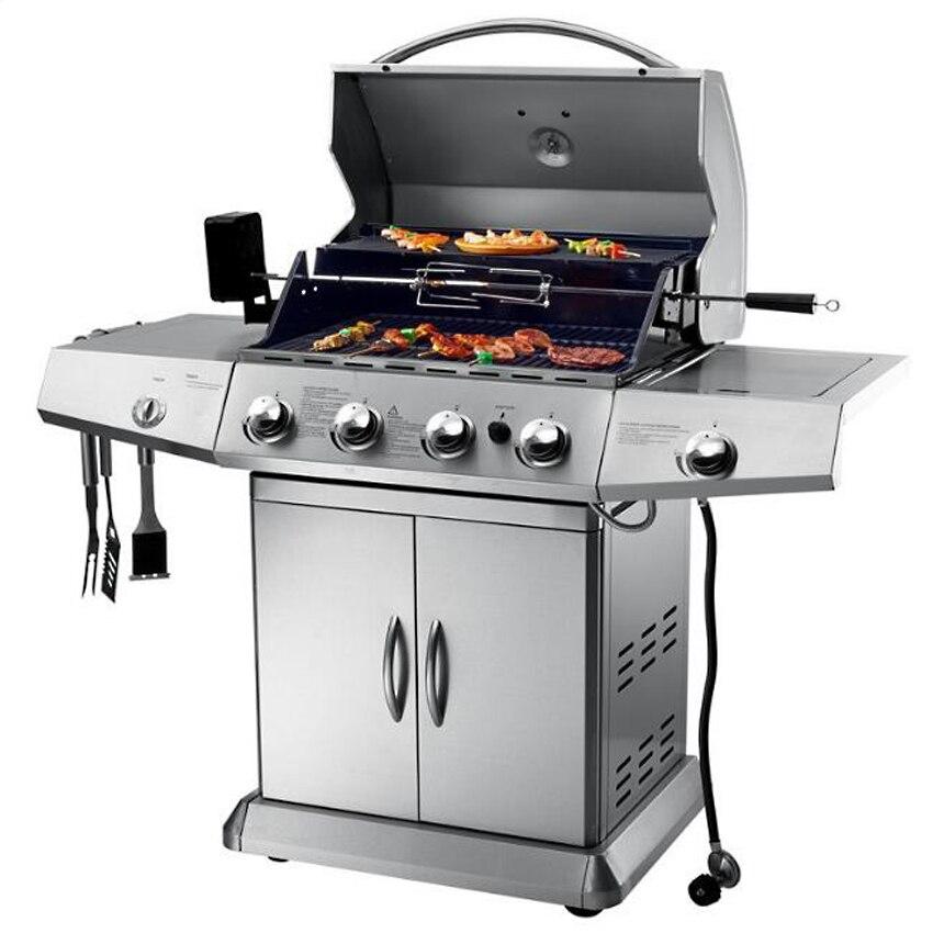 Acier inoxydable Barbecue Barbecue cuisinière à gaz Camping rôti pique-nique outils jardin Grills accessoires Commercial extérieur viande Barbecue four