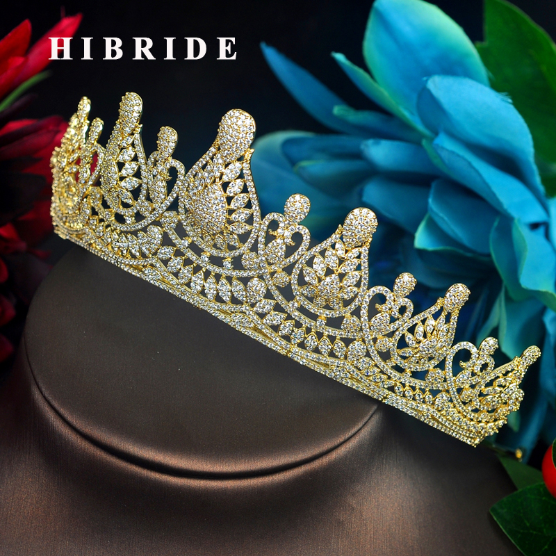 HIBRIDE Fashion Princess Tiaras Crown Inlay Rhinestone Wedding Hair Accessories Gold Color Headband Crown Jewelry C