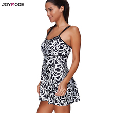 JOYMODE One Piece Plus Size Black White Bikini Swimdress Beach Swimsuit