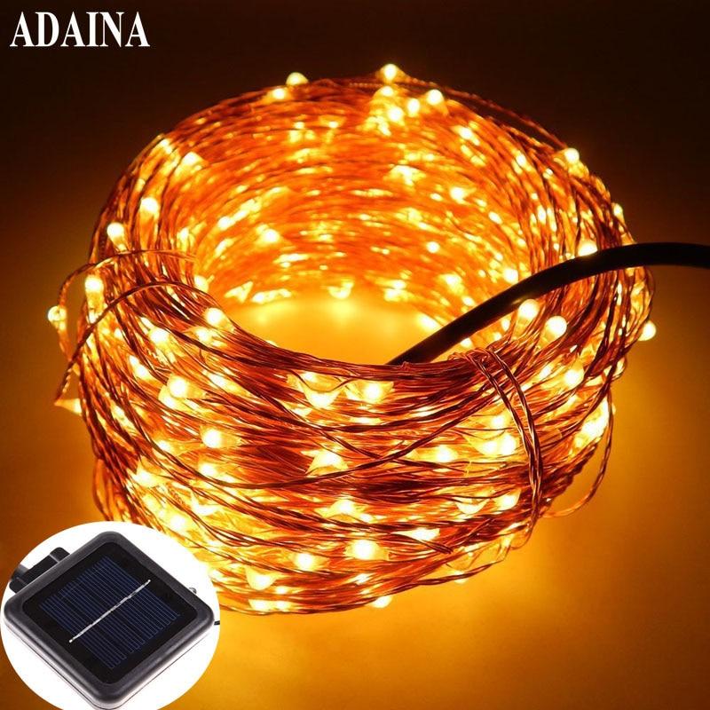 20M / 66Ft 200 LEDer Kobber Wire Hage LED Solar String Light Utendørs Vanntett Fairy Lampe For Wedding Christmas Party Decoration