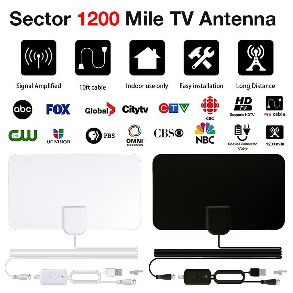 Newest TV Aerial Indoor Amplified Digital HDTV Antenna 1200 Miles Range With 4K HD1080P DVB-T Freeview TV For Life Local Channel