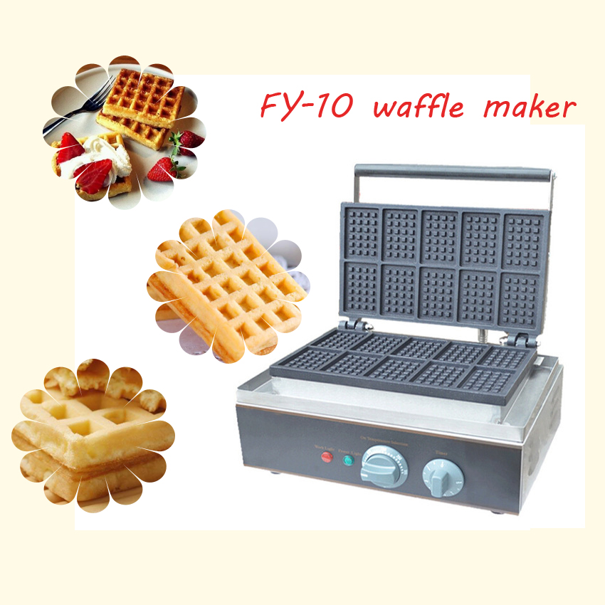 1pc FY-10 square for waffle maker waffle grill cake oven/ waffle machine/Ten grid waffle machine 1pc popular waffle cookie maker cool touch exterior cake making machine with grilling press plates for restaurant fy 2201