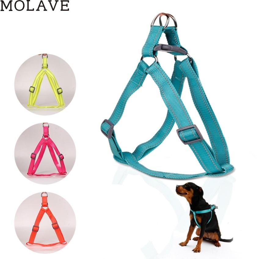 MOLAVE Creative četras krāsas Nylon Dog Harness Pet apkakles Pet Chest Back Vilces Belt Happy Dāvanas Augstas kvalitātes # dropship