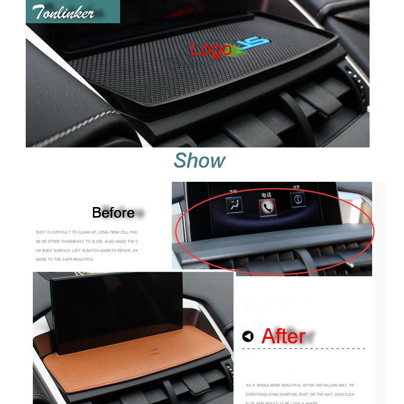 Tonlinker Cover Case Strickers For Lexus ES RX NX 2016 Car Styling 1PCS Silicone Center Console Navigation Anti-dirty Pad Covers