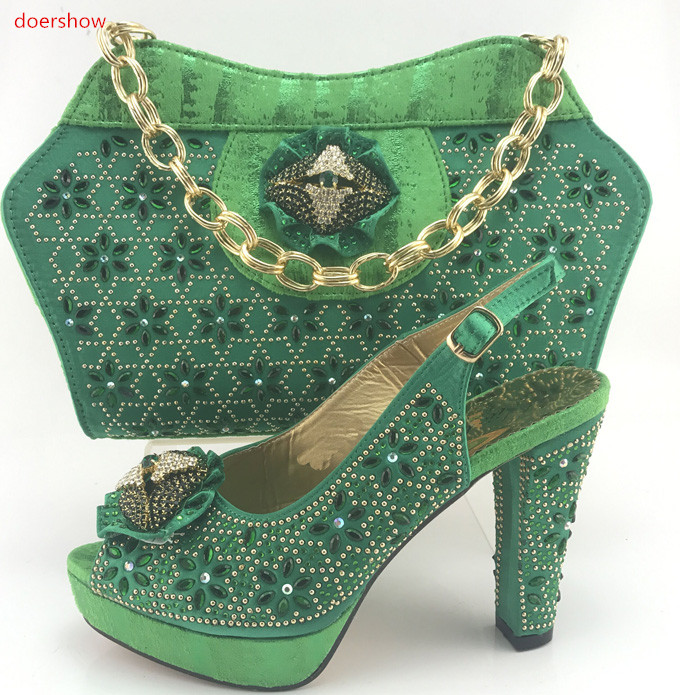 doershow High Quality Italian green Shoes And Purse Sets For Party Dress African Elegant Women Shoes And Bag Set PMB1-3