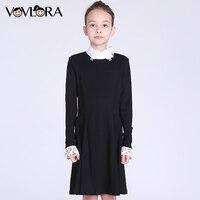 Kids Dresses Girls Long Sleeve Detachable Collar Turtleneck School Dress 2017 New Winter Girls Dress Size