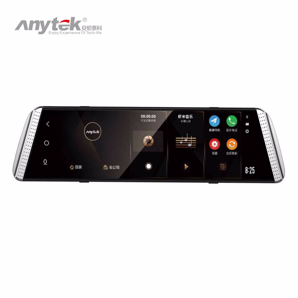 Anytek T500 9.88in 2.5D Curved Screen Car DVR Touch Night Vision ADAS 1080P Rear View Mirror Camera Dual Lens Dash Cam anytek t33 5 0in ips touch screen car dvr camera video recorder dual lens adas built in esi electronic anti shaking dash camera