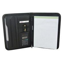 Multifonctionnel A4 dossier de conférence professionnel affaires PU cuir porte documents organisateur sac portefeuille avec calculatrice