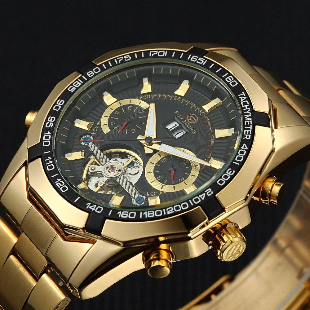 2017 FORSINING Men Watches Tourbillon Clock Men Automatic Watch Skeleton Military Watch Mechanical Relogio Male Erkek Saat