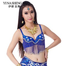 1 PC Belly Dance Bra Sequins Diamonds Brassiere Dancing Bra Tassel Hanging Beaded Sexy Belly Dancing Stage & Dance Wear 9 Colors