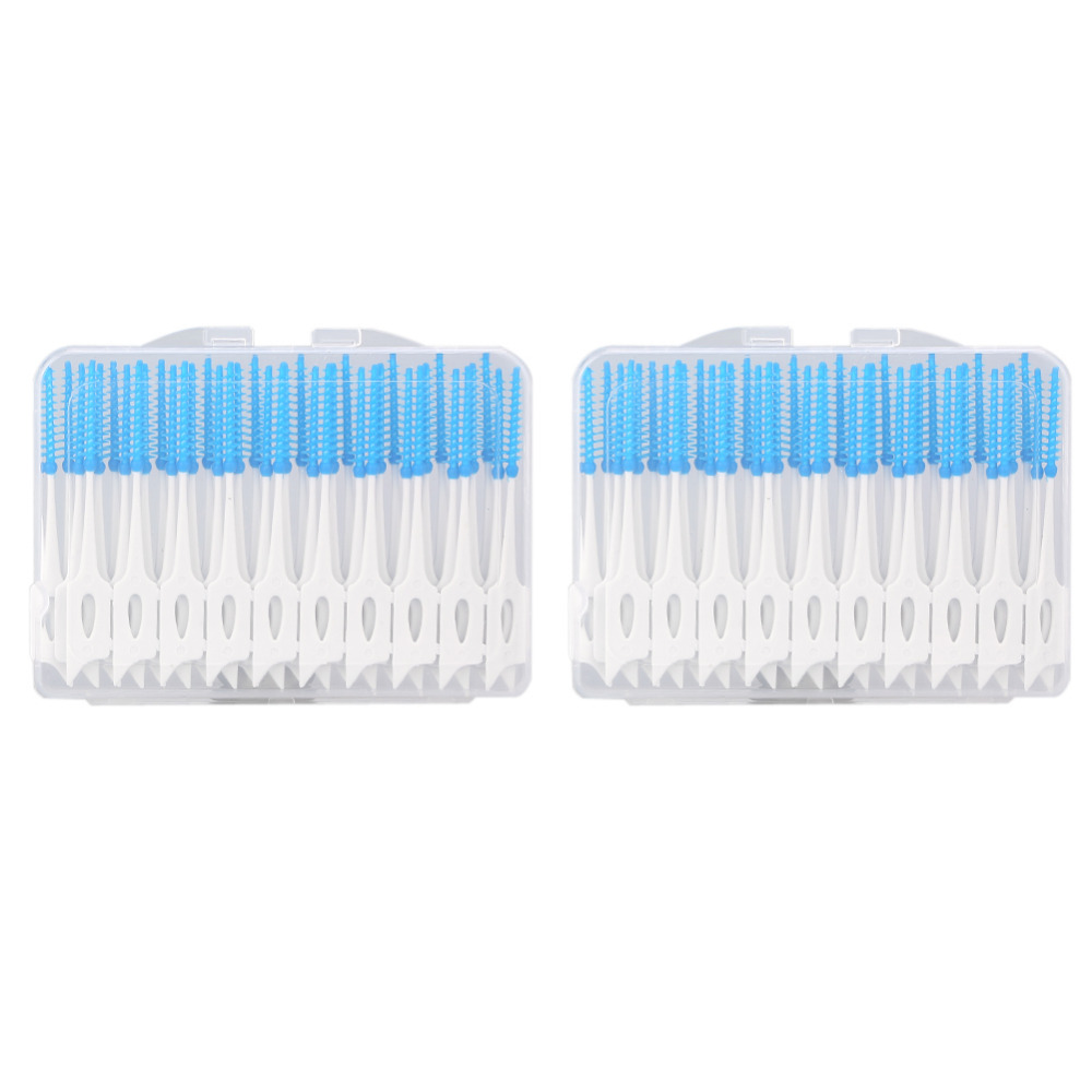 80 pcs/pack Push-Pull Interdental Brush 0.7mm Gum Interdental Brush Orthodontic Wire Brush Toothbrush Oral Care Toothpick