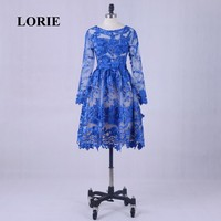 LORI Short Evening Dress Free Shipping 2017 Scoop A-Line Royal Blue Lace Prom Dress Long Sleeve See Through Party Gown Real