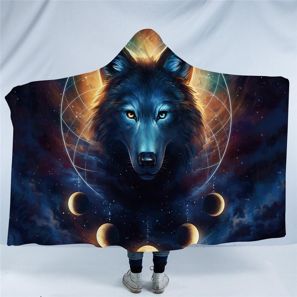 Galaxy Wolf Hooded Blankets
