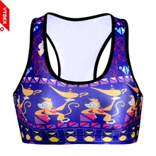 1a47d4214a6b9 VTDEX Women Sports Bras Cartoon Pattern Nylon Yoga Bustier Vest Sujetador  Sutian