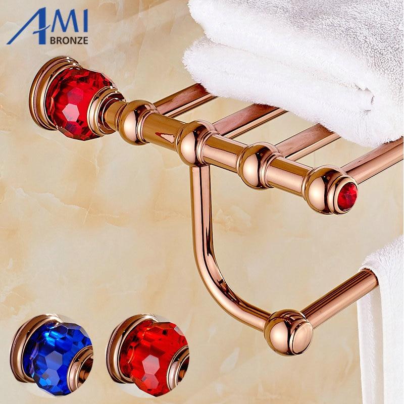 все цены на  Rose Golden Polish Copper With Crystal Towel Rack Continental Bathroom Accessories Sanitary Wares Towel Rack Towel Shelf  в интернете