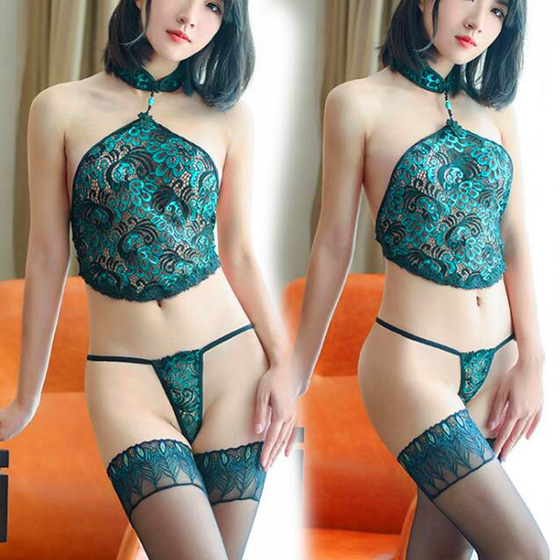 Sexy Lingerie Women Set Lace Peacock Embroidery Cheongsam Erotic Lingerie Sexy Hot Hollow Backless  Lingerie Without Stockings