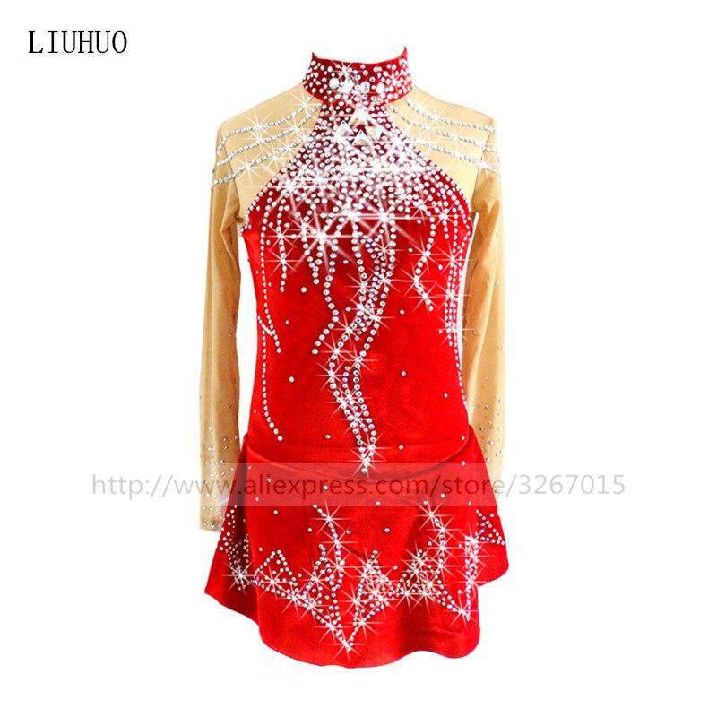 Figure Skating Dress Women s Girls Ice Skating Dress Red red High grade velvet fabric comfortably