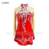 Figure Skating Dress Women's Girls' Ice Skating Dress Red red High grade velvet fabric comfortably warm Middle East water drill