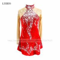 Robe de patinage artistique femmes fille patinage sur glace robe rouge rouge haute qualité velours tissu confortablement chaud moyen-orient perceuse à eau