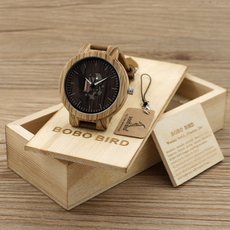 BOBO BIRD Men's Wood Watches Natural Brown Cowhide Leather Strap Quartz Watch Packaged in Wooden Gift Box Relogio Masculino bobo bird wh05 brand design classic ebony wooden mens watch full wood strap quartz watches lightweight gift for men in wood box