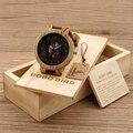 Bobo bird hombres reloj de cuarzo correa de cuero relojes de madera con piel de vaca marrón natural empaquetado en una caja de regalo de madera