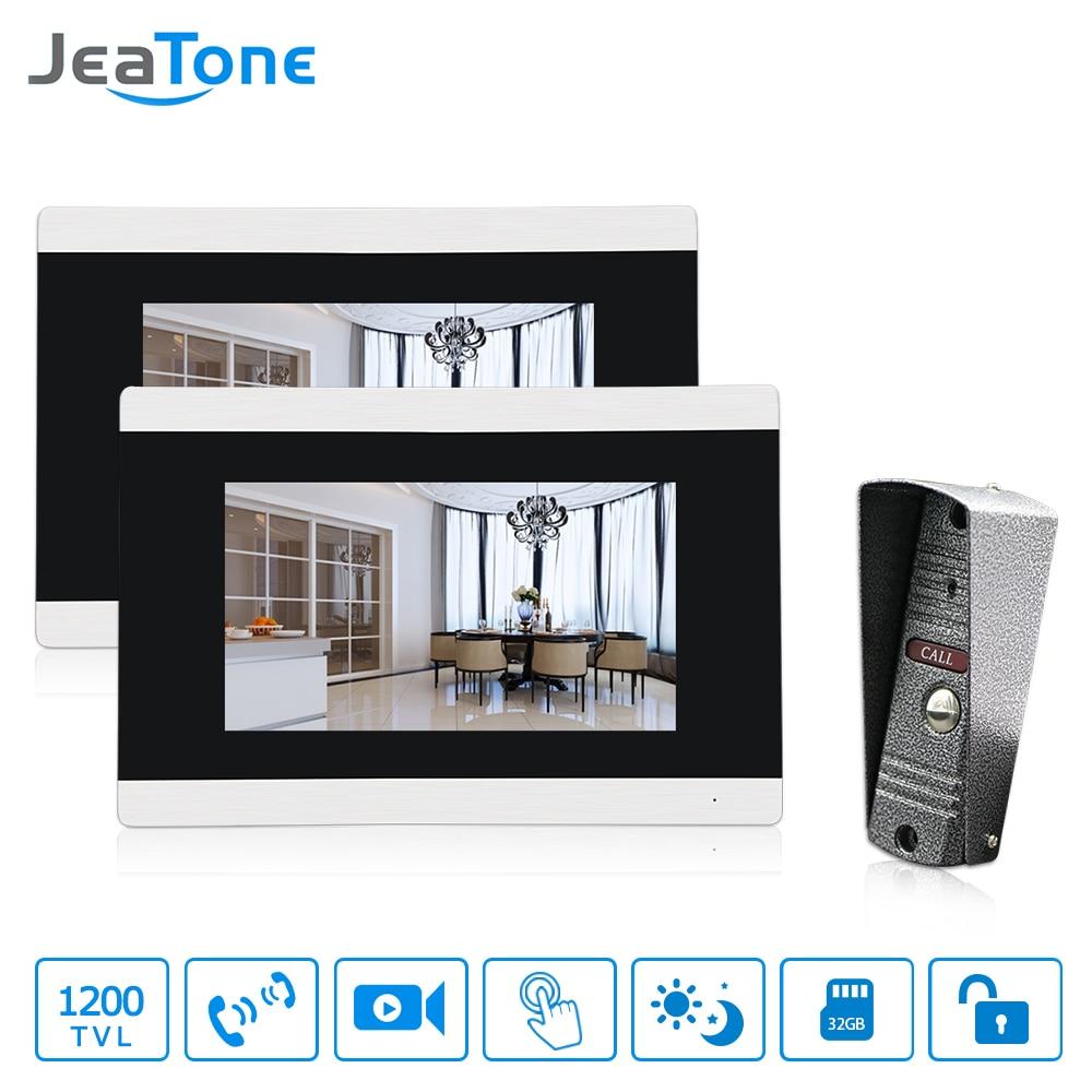 JeaTone Wired Video Doorbell Intercom 2pcs/Lot 7'' Touch-Screen Video Door Phone + 1pc Waterproof Security Camera doorphone