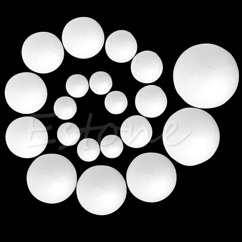 50Pcs Modelling Polystyrene Styrofoam Foam Ball Creative DIY Material Round 2/3/4/5/6/8 Cm