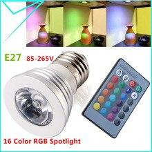 Новинка 220 В/110 В RGB лампа RGB светодиодный светильник E27 3 Вт Светодиодный светильник Светодиодный точечный светильник Точечный светильник 16 цветов с регулируемой яркостью