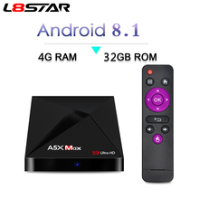 L8STAR A5X MAX Android 8,1 4 ГБ 32 ГБ ТВ коробка RK3328 4 К BT 4,1 USB 3,0 2.4g WiFi 100 м Lan Smart Media Player HD2.0 OTT ТВ коробка