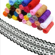 polyester Lace Trim Ribbon 4.5cm Apparel Sewing/Fabric DIY craft Garment Decoration Wedding birthday party Scrapbook necklace Wh(China)