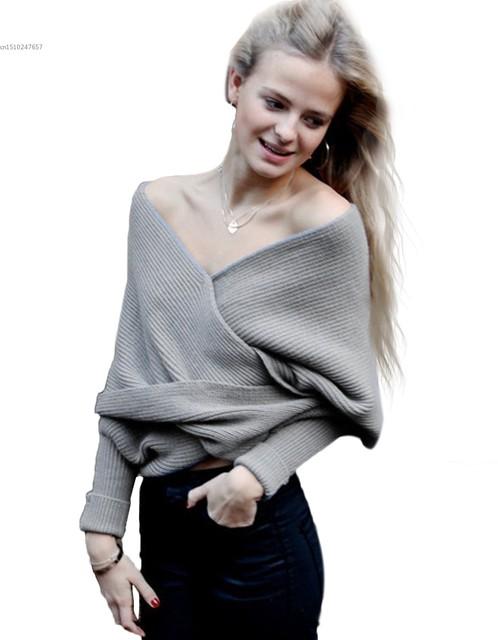 2016 Europa Estilo de Las Mujeres Atractivas de Punto Pullover Moda Hombro Suéter de Punto Larga Jersey de Manga Corta Con Cuello en V Knitweat