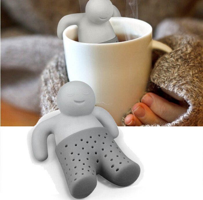 100% NEW!  Mr.Tea Infuser Loose Tea Leaf Strainer Herbal Spice Silicone Filter Diffuser  Drop Shipping