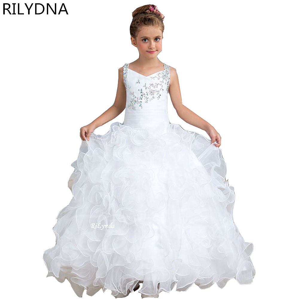 New Ball   Flower     Girls     Dress   For Weddings Lace Appliques Tulle Sleeveless Pageant Gowns Party First Communion Vestidos