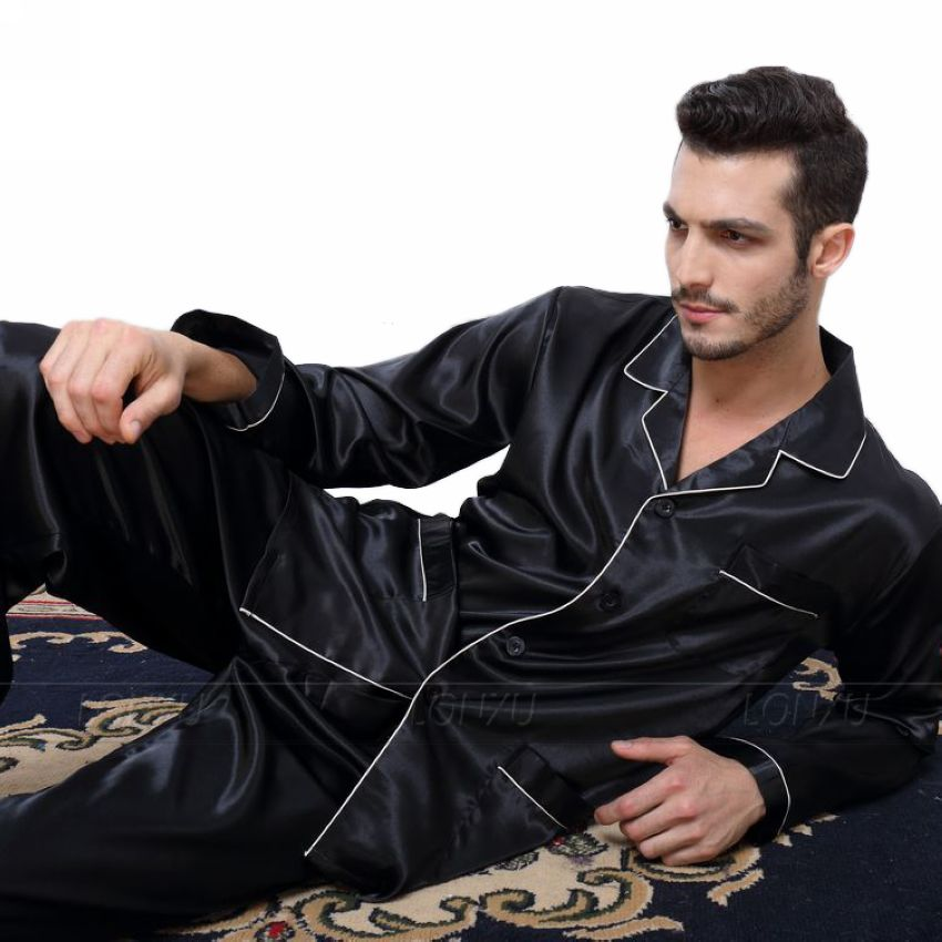 Mens Silk Satin Pajamas  Pyjamas  Set  Sleepwear Set  Loungewear  U.S. S,M,L,XL,XXL,XXXL,4XL__Fits All  Seasons(China)