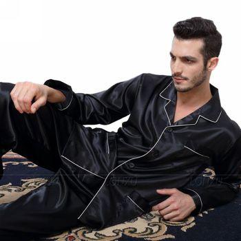 Ensemble de Pyjamas en Satin de soie pour homme ensemble de vêtements de nuit vêtements de détente us S, M, L, XL, XXL, XXXL, 4XL _ _ s'adapte à toutes les saisons