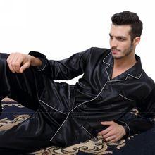 Мужские шелковые атласные пижамы Пижама комплект домашней одежды США S, M, L, XL, XXL, XXXL, 4XL _ подходит для всех сезонов