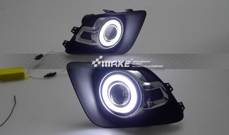 Osmrk led DRL daytime running light COB angel eye + projector lens fog lamp for Mitsubishi asx 2010-12, one pair, top quality