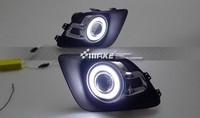 Osmrk led DRL daytime running light COB angel eye + projector lens fog lamp for Mitsubishi asx 2010 12, one pair, top quality