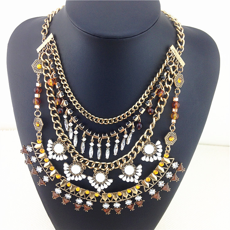 Noble Crystal Mosaic Punk Fashion Necklaces & Pendants 2 Color To Choose Exaggerated Style Statement Necklace Accept Wholesale