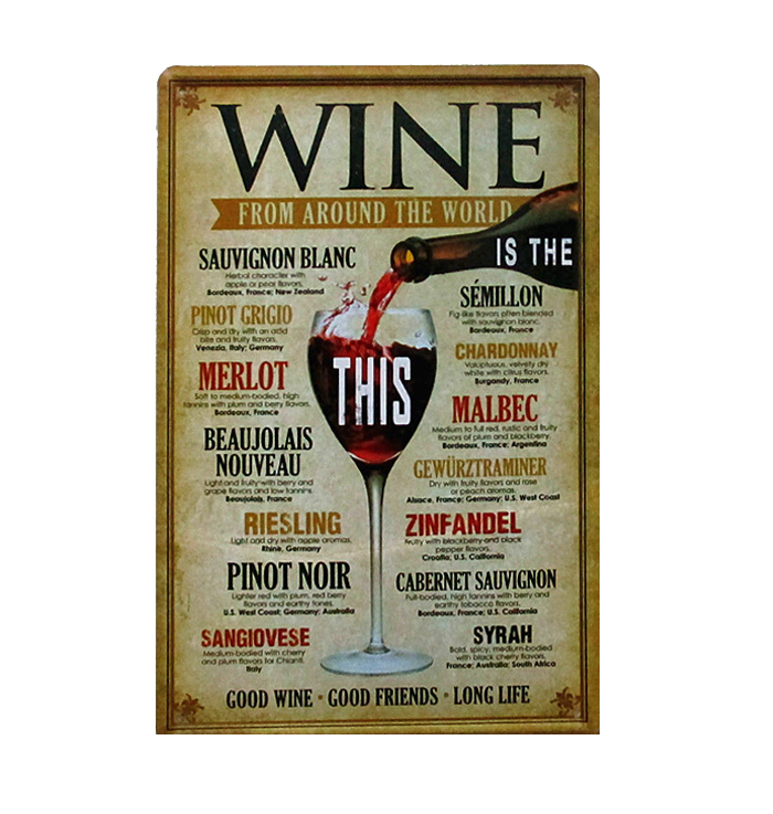 6X12inch Matel Tin Signs of Wine from around the world tin signs home decor House Cafe Bar painting J&Y Art Home Dcors JY-007